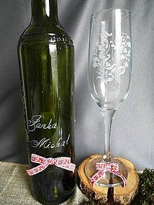 Nádoby - Svadobný pohár, srdiečko folk - 9300456_