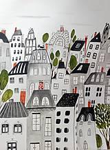 - Mesto sivé ilustrácia  / originál maľba  - 9300177_