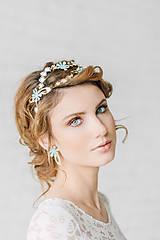 Ozdoby do vlasov - Dvojradová kvetinová mosadzná čelenka (svetlo-tyrkysová) - Slavianka - 9299530_