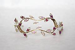 Ozdoby do vlasov - ZĽAVA-Jedinečná dvojradová čelenka s bielymi kvetmi, ružovými jadeitmi a ruženínmi - Slavianka - 9300830_