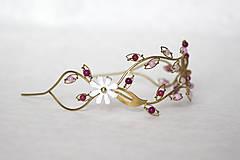 Ozdoby do vlasov - ZĽAVA-Jedinečná dvojradová čelenka s bielymi kvetmi, ružovými jadeitmi a ruženínmi - Slavianka - 9300831_