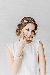 Ozdoby do vlasov - ZĽAVA-Jedinečná dvojradová čelenka s bielymi kvetmi, ružovými jadeitmi a ruženínmi - Slavianka - 9300839_