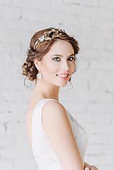 Ozdoby do vlasov - ZĽAVA-Jedinečná dvojradová čelenka s bielymi kvetmi, ružovými jadeitmi a ruženínmi - Slavianka - 9300841_
