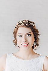 Ozdoby do vlasov - ZĽAVA-Jedinečná dvojradová čelenka s bielymi kvetmi, ružovými jadeitmi a ruženínmi - Slavianka - 9300844_