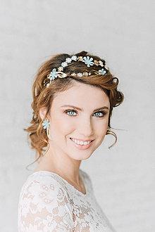 Ozdoby do vlasov - Dvojradová kvetinová mosadzná čelenka (svetlo-tyrkysová) - Slavianka - 9299529_