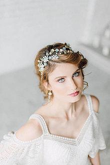 Ozdoby do vlasov - Jedinečná dvojradová čelenka so svetlými a sivo-modrými kvetmi a achátmi rôznych odtieňov - Slavianka - 9300436_