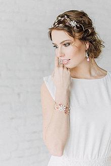 Ozdoby do vlasov - Jedinečná dvojradová čelenka s bielymi kvetmi, ružovými jadeitmi a ruženínmi - Slavianka - 9300837_
