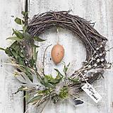 Dekorácie - Veľkonočný veniec prútený s vajíčkom - 9300705_