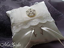 Prstene - Svadobný vankúšik & kľúčiky šťastia - 9299785_