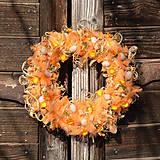 Dekorácie - Oranžový jarný veniec na dvere - 9300640_