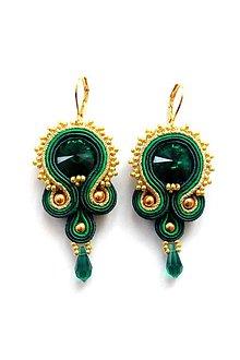 Náušnice - Smaragdovo-zlaté šujtášové náušnice, SW. Emerald - 9298667_