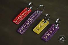 Kľúčenky - Kožené prívesky, kľúčenky s menom - 9302918_