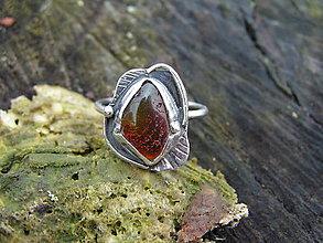 Prstene - Strieborny prsteň Ag925 Jantár - 9300748_