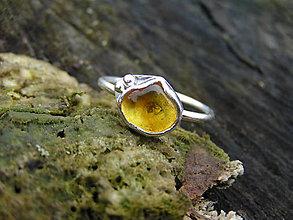Prstene - Strieborny prsteň Ag925 Jantár - 9300790_