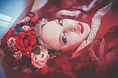 Ozdoby do vlasov - Červená svadobná parta so stuhami a čipkami - 9298607_