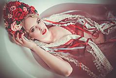 Ozdoby do vlasov - Červená svadobná parta so stuhami a čipkami - 9298608_