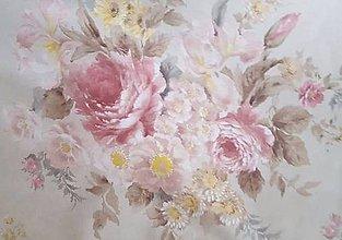 Textil - látka maľované kvety - 9300246_