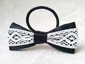 Ozdoby do vlasov - Folklore hair bow (black/white) - 9303416_