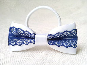 Ozdoby do vlasov - Folklore hair bow (white/dark blue) - 9303423_