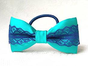 Ozdoby do vlasov - Folklore hair bow (turquoise/dark blue) - 9303605_
