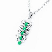 Náhrdelníky - Přívěsek Korálkový hřbet  (zelený) - 9303502_