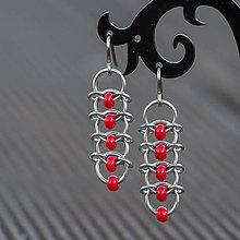 Náušnice - Korálkové hřbety - náušnice (červené) - 9303548_