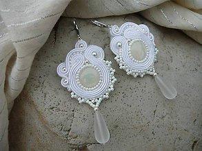 Náušnice - Soutache Svadobné náušnice perleťové...romantické - 9306625_