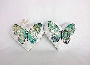 Dekorácie - Tieňový motýľ - závesná dekorácia tyrkysová (cca 14 cm x 13 cm) - 9305278_