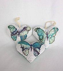 Dekorácie - Tieňový motýľ - závesná dekorácia tyrkysová (cca 11 cm x 10 cm) - 9305281_