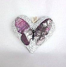 Dekorácie - Tieňový motýľ - závesná dekorácia šedo-ružovo-fialová (cca 14 cm x 13 cm) - 9305377_