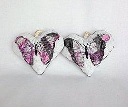 Dekorácie - Tieňový motýľ - závesná dekorácia šedo-ružovo-fialová (cca 11 cm x 10 cm) - 9305383_