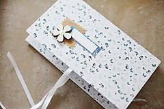 Papiernictvo - Scrapbook obálka na peniaze modrobiela - 9304209_