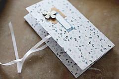 Papiernictvo - Scrapbook obálka na peniaze modrobiela - 9304211_