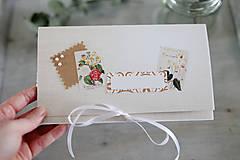 Papiernictvo - Scrapbook obálka na peniaze - prírodná - 9304218_