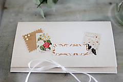 Papiernictvo - Scrapbook obálka na peniaze - prírodná - 9304221_