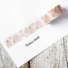 Papier - Washi pásky Kvety a listy 1,5 cm x 7 m - 9305187_