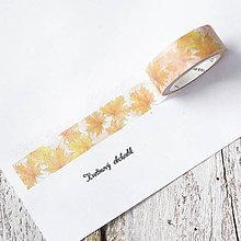 Papier - Washi pásky Kvety a listy 1,5 cm x 7 m (Washi páska Javor v jeseni) - 9305229_