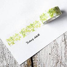 Papier - Washi pásky Kvety a listy 1,5 cm x 7 m (Washi páska Zelené lístky) - 9305232_