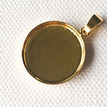Komponenty - 24 k zlatom zlátené maxi strieborné (Ag 925) lôžko 20 mm so šlupňou - 9306487_