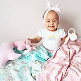 Textil - Detská deka jednorožci na ružiach a mentole - 9303788_