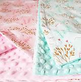 Textil - Detská deka jednorožci na ružiach a mentole - 9303793_