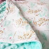 Textil - Detská deka jednorožci na ružiach a mentole - 9303800_