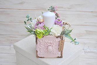 Dekorácie - dekoračný šuflík so sviečkou, menší - 9306899_