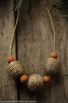 Sady šperkov - zlatá s drevom - 9305568_