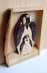 Socha - Drevený obraz - Tučniak s mláďaťom - 9305945_