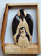 Socha - Drevený obraz - Tučniak s mláďaťom - 9305946_