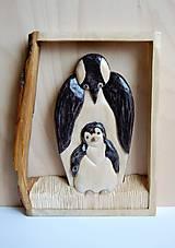 Socha - Drevený obraz - Tučniak s mláďaťom - 9305947_