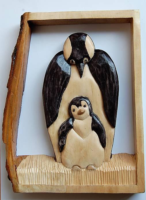 Drevený obraz - Tučniak s mláďaťom
