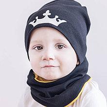 Detské súpravy - Čiapka+ nákrčník Princ / Princezná & čierna - 9303218_