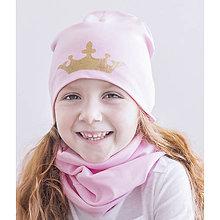 Detské súpravy - Čiapka+ nákrčník Princezná & ružová - 9303316_